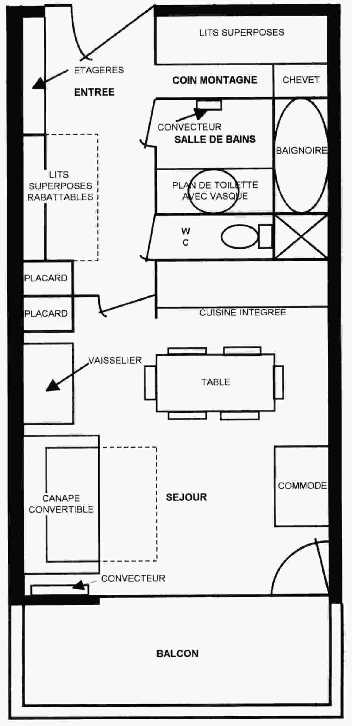 Plan de lappartement de 32 m² en location à val thorens